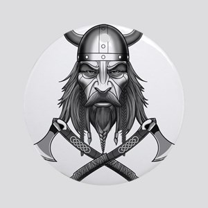 Viking Warrior Head Round Ornament