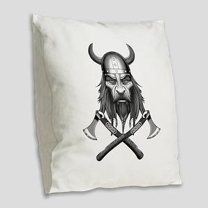 Viking Warrior Head Burlap Throw Pillow