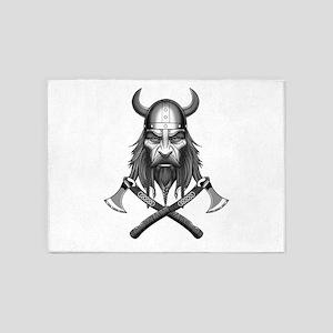 Viking Warrior Head 5'x7'Area Rug