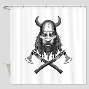 Viking Warrior Head Shower Curtain