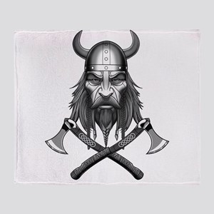 Viking Warrior Head Throw Blanket