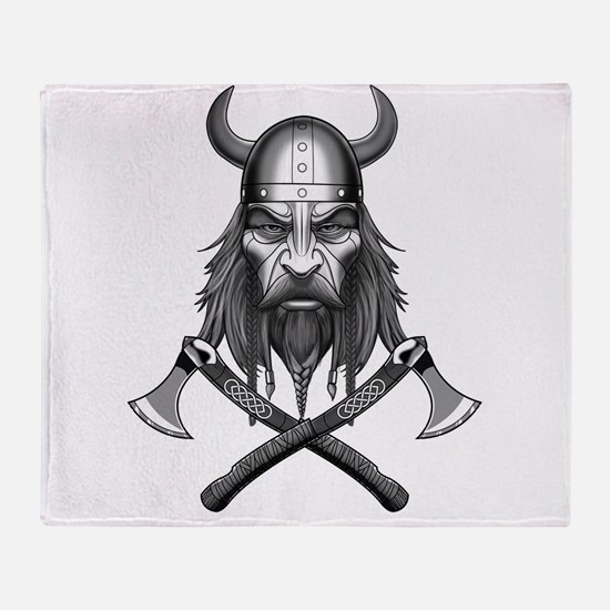 Viking Warrior Head Throw Blanket