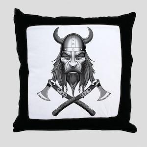Viking Warrior Head Throw Pillow