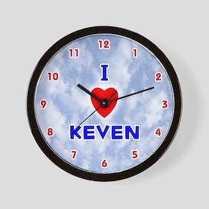 I Love Keven (Red/Bl) Valentine Wall Clock