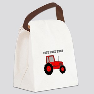 Personalized Red Tractor Canvas Lunch Bag