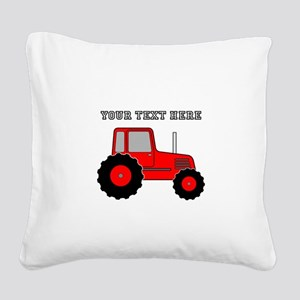 Personalized Red Tractor Square Canvas Pillow