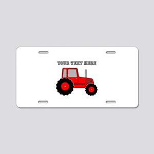 Personalized Red Tractor Aluminum License Plate
