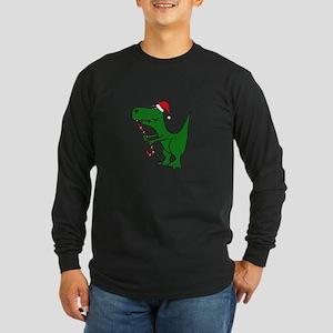 T-rex Dinosaur in Santa Hat Long Sleeve T-Shirt