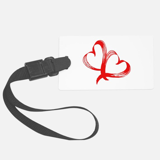 Double Heart Luggage Tag