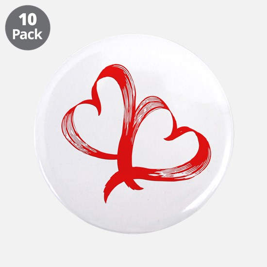 """Double Heart 3.5"""" Button (10 pack)"""