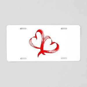 Double Heart Aluminum License Plate