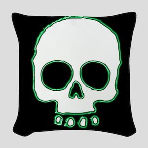 Green Neon Skull on Black Woven Throw Pillow