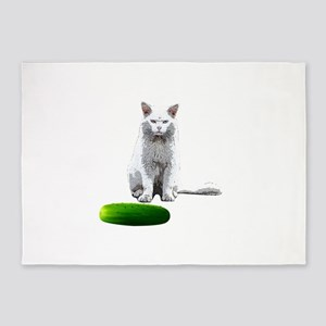 Cat Mad At Cucumber 5'x7'Area Rug