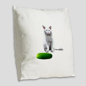 Cat Mad At Cucumber Burlap Throw Pillow