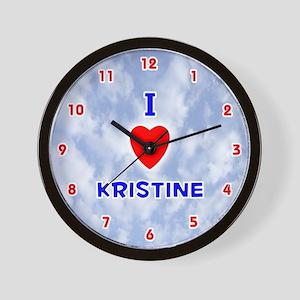 I Love Kristine (Red/Bl) Valentine Wall Clock