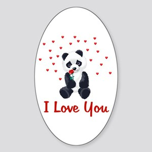 Panda Bear Valentine Oval Sticker