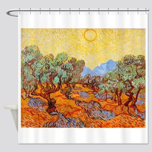 Olive Trees with Yellow Sky and Sun Shower Curtain