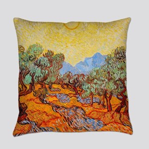 Olive Trees with Yellow Sky and Su Everyday Pillow