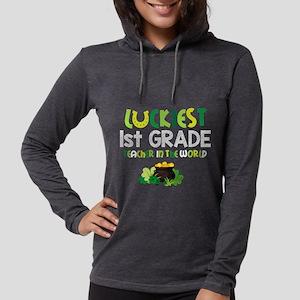 Luckiest 1st Grade Teacher Womens Hooded Shirt