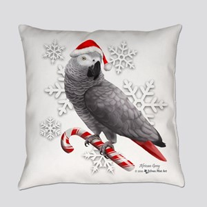 Christmas African Grey Parrot Everyday Pillow