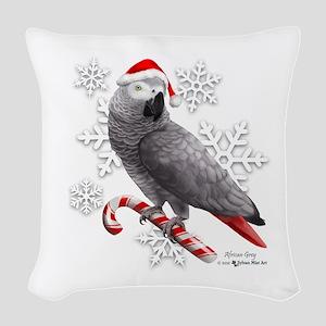 Christmas African Grey Parrot Woven Throw Pillow