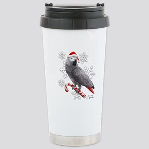 Christmas African Grey Stainless Steel Travel Mug