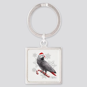 Christmas African Grey Parrot Keychains