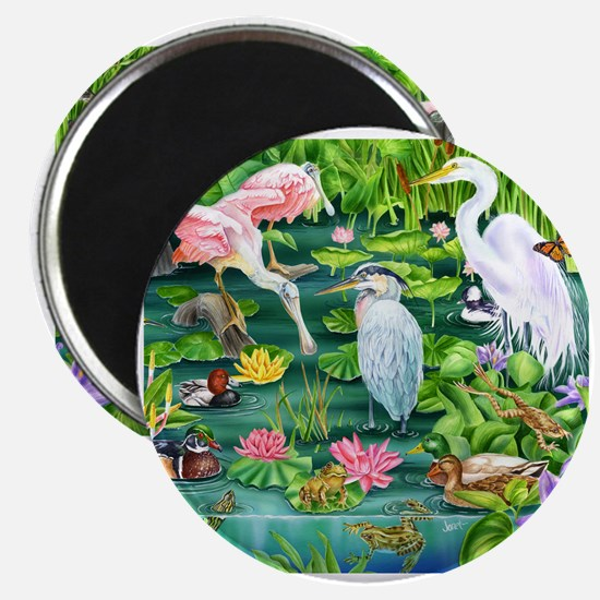 Cute Frog and heron Magnet
