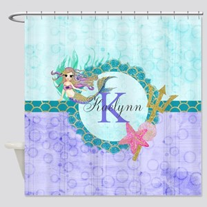 Monogram Mermaid Shower Curtain