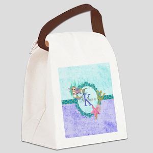 Personalized Monogram Mermaid Canvas Lunch Bag