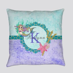 Personalized Monogram Mermaid Everyday Pillow