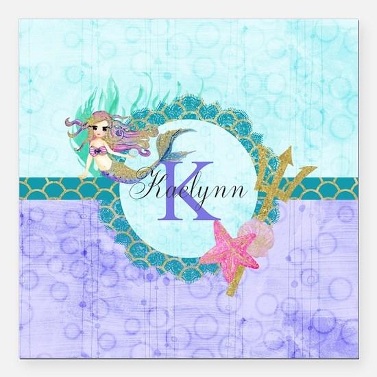 "Personalized Monogram Mermaid Square Car Magnet 3"""