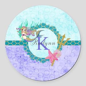 Personalized Monogram Mermaid Round Car Magnet