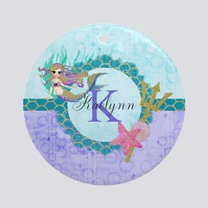Personalized Monogram Mermaid Round Ornament
