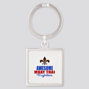 Awesome Muay Thai Fighter Square Keychain