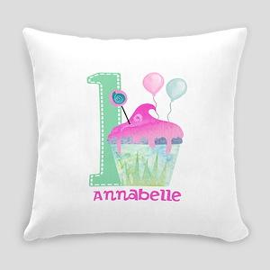 Baby Girl 1st Birthday Everyday Pillow