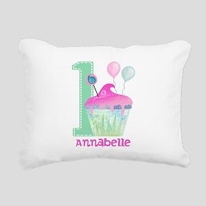 Baby Girl 1st Birthday Rectangular Canvas Pillow