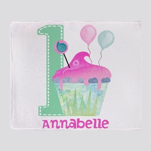 Baby Girl 1st Birthday Throw Blanket