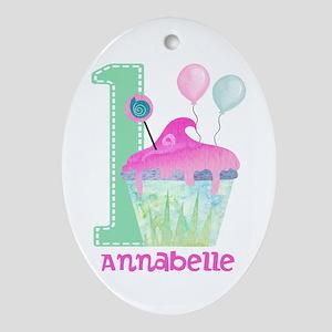 Baby Girl 1st Birthday Oval Ornament