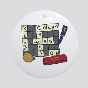 Keep Calm Crossword 2 Round Ornament