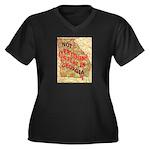 Flat Georgia Women's Plus Size V-Neck Dark T-Shirt
