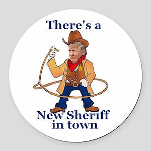 Trump New Sheriff 2017 Round Car Magnet