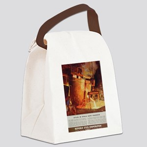"""Vintage """"Styles in Steel"""" Canvas Lunch Bag"""
