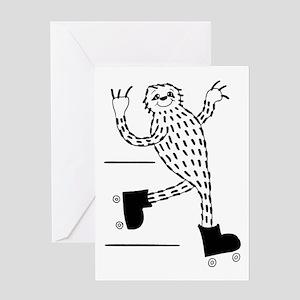 Sloth on Roller Skates Greeting Cards