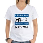 I Run on Caffeine, Dogs & F Women's V-Neck T-Shirt