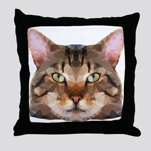 Tabby Cat Face Throw Pillow