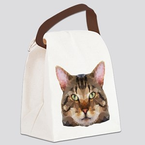 Tabby Cat Face Canvas Lunch Bag