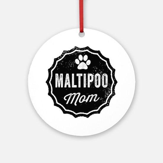 Maltipoo Mom Round Ornament