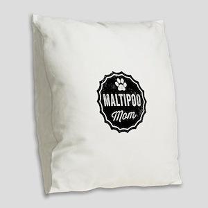 Maltipoo Mom Burlap Throw Pillow