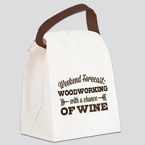 Woodworking and Wine Canvas Lunch Bag